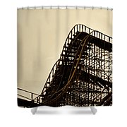 Great White Roller Coaster - Adventure Pier Wildwood Nj In Sepia Triptych 1 Shower Curtain