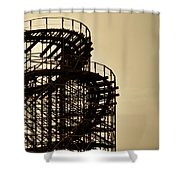Great White Roller Coaster - Adventure Pier Wildwood Nj In Sepia Triptych 3 Shower Curtain