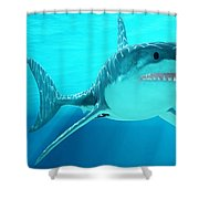 Great White Shark With Sunrays Shower Curtain