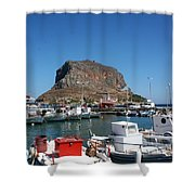 Greece Island Harbor Shower Curtain