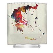 Greece Watercolor Map Shower Curtain