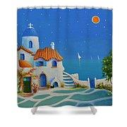 Greek Blue Santorini A Greek Fairytale Shower Curtain