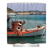 Greek Boat And Boots Shower Curtain