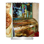 Greek Coffee Shower Curtain