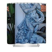 Greek Dude And Lion In Blue Shower Curtain