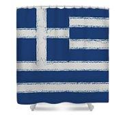 Greek Flag Smudged Shower Curtain