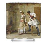 Greek Flirtation Shower Curtain