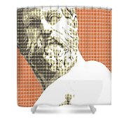 Greek Statue #1 - Orange Shower Curtain