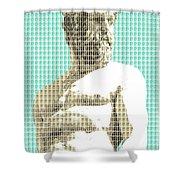 Greek Statue #2 - Light Blue Shower Curtain