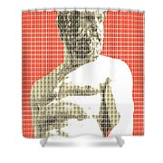 Greek Statue #2 - Orange Shower Curtain