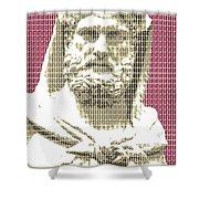 Greek Statue #3 - Dark Red Shower Curtain