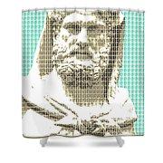 Greek Statue #3 - Light Blue Shower Curtain