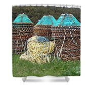 Green - Crab Pots Shower Curtain