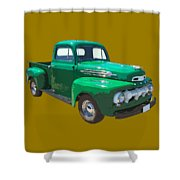 Green 1951 Ford F-1 Pick Up Truck Illustration  Shower Curtain