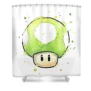 Green 1up Mushroom Shower Curtain