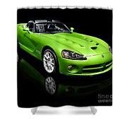 Green 2008 Dodge Viper Srt10 Roadster Shower Curtain