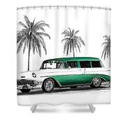 Green 56 Chevy Wagon Shower Curtain