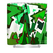 Green Abstract Squared #2 Shower Curtain
