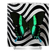 Green And Black Butterfly On Wavey Lines Shower Curtain