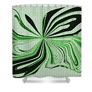 Green And Black Embroidered Butterfly Abstract Shower Curtain