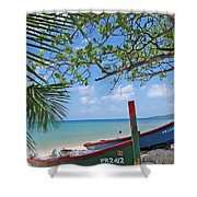 Green And Blue Boat Shower Curtain