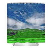 Green And Blue Landscape Shower Curtain