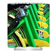 Green And Yellow Bicycles Shower Curtain