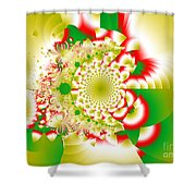 Green And Yellow Collide Shower Curtain