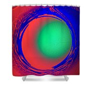 Green Ball In Red Funnel  Shower Curtain