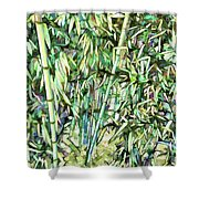 Green Bamboo Tree Shower Curtain