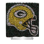 Green Bay Packers Bottle Cap Mosaic Shower Curtain by Paul Van Scott