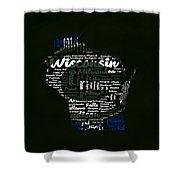 Green Bay Packers Typographic Word Art Shower Curtain