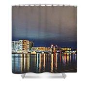 Green Bay Wisconsin City Skyline At Night Shower Curtain