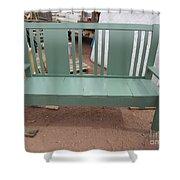 Green Bench Shower Curtain