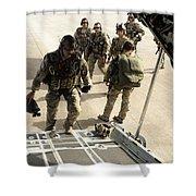 Green Berets Board A C-130h3 Hercules Shower Curtain