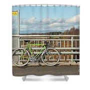 Green Bicycle On Bridge Shower Curtain