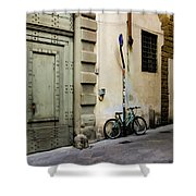 Green Bike And Door Shower Curtain