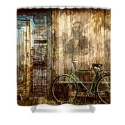 Green Bike Crooked Door Shower Curtain