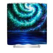 Green-blue Galaxy And Ocean. Planet Dzekhtsaghee Shower Curtain