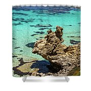 Green Blue Ocean Water And Rocks Shower Curtain