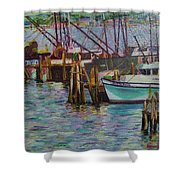 Green Boat At Rest- Nova Scotia Shower Curtain
