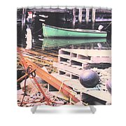 Green Boat Shower Curtain