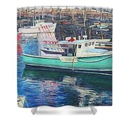 Green Boat Reflections Shower Curtain