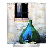 Green Bottle Italian Window Shower Curtain