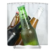 Green Bottle Of Beer Shower Curtain by Deyan Georgiev