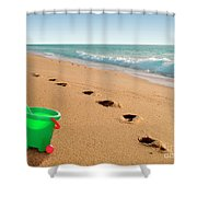 Green Bucket  Shower Curtain