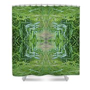 Green Fractal Shower Curtain