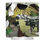 Green Collage 1 Shower Curtain
