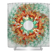 Green Comet Shower Curtain