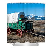 Green Covered Wagon Shower Curtain